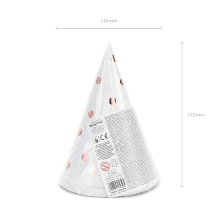 Party Deco® Party klobučki s pikicami White 6 kos