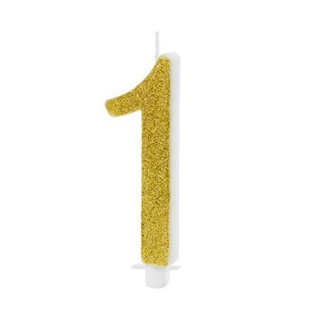 Slika Party Deco® Rojstnodnevna svečka številka 1 Gold