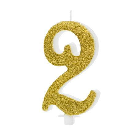 Slika Party Deco® Rojstnodnevna svečka številka 2 Gold