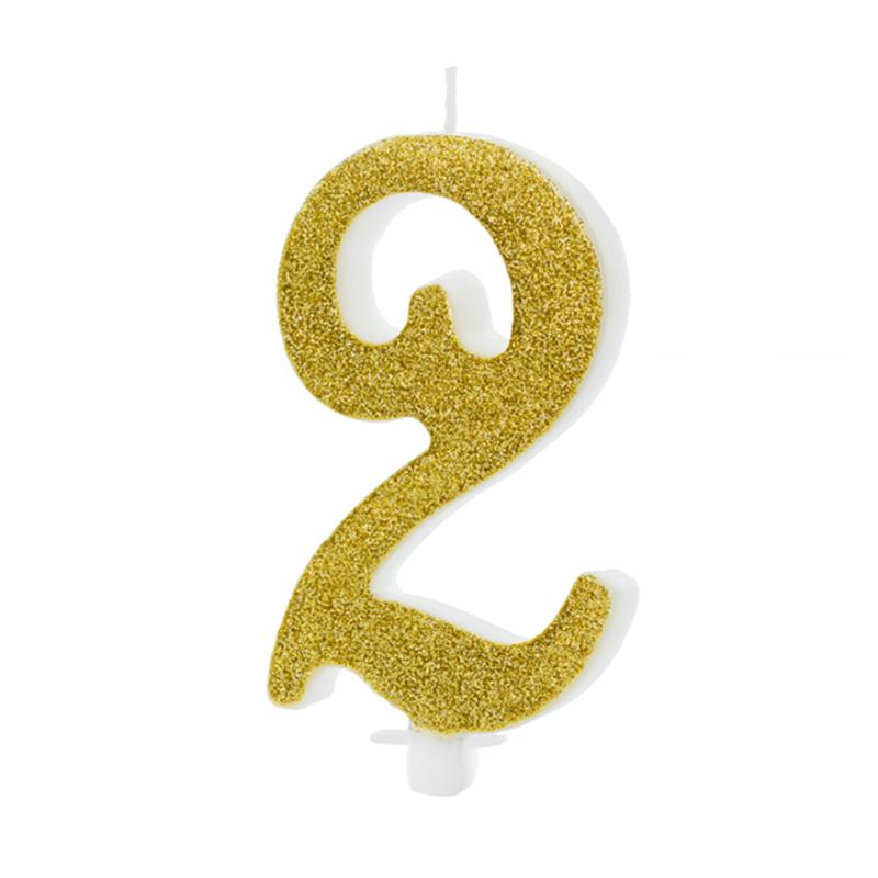 Party Deco® Rojstnodnevna svečka številka 2 Gold