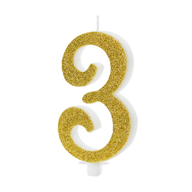 Party Deco® Rojstnodnevna svečka številka 3 Gold