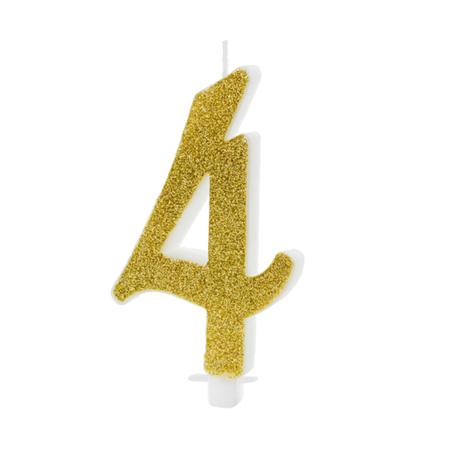 Slika Party Deco® Rojstnodnevna svečka številka 4 Gold