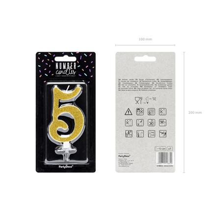 Party Deco® Rojstnodnevna svečka številka 5 Gold