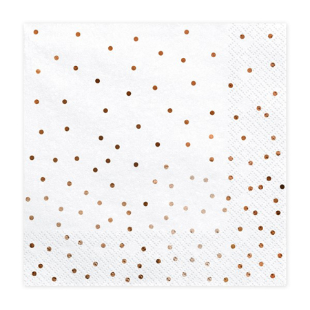 Party Deco® Troslojne Serviete Dots White 20 kos