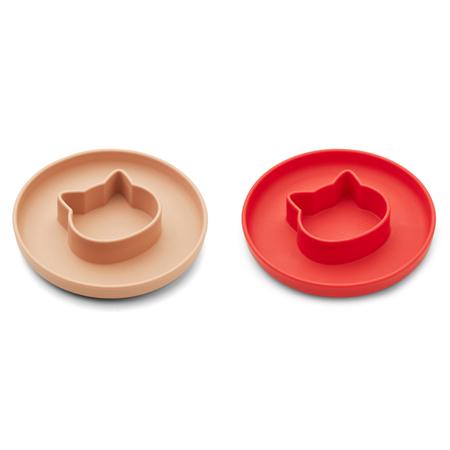 Liewood® Komplet silikonskih krožnikov Gordon Cat Apple red/tuscany rose Mix
