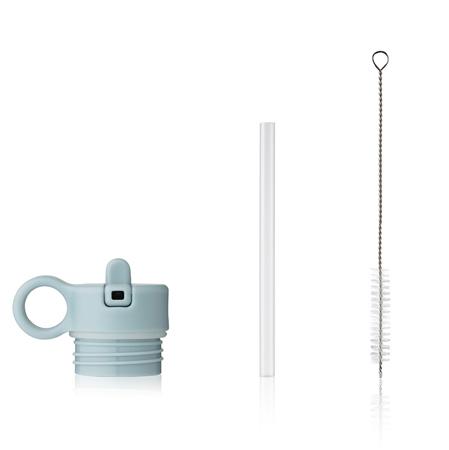 Slika Liewood® Pokrovček s slamico in krtačko za stekleničko Falk 250ml - Sea Blue
