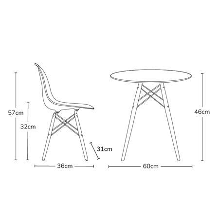 EM Furniture Set mizica in 4 stoli White