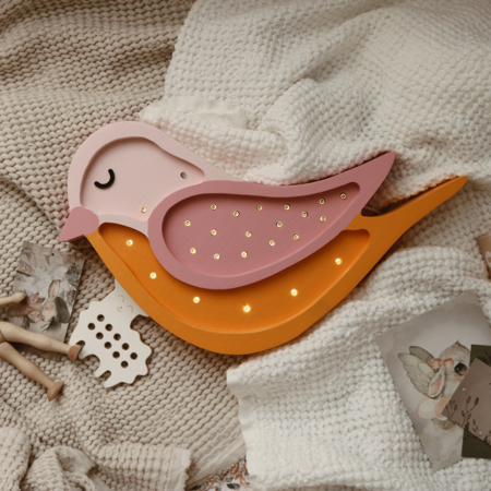 Little Lights® Ročno izdelana lesena lučka Bird Honey