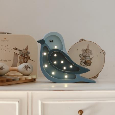 Little Lights® Ročno izdelana lesena lučka Bird Denim Mini
