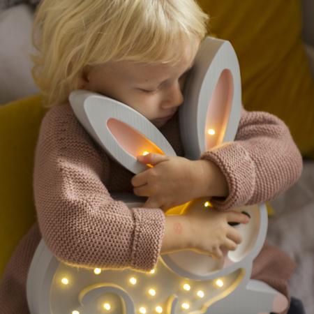 Little Lights® Ročno izdelana lesena lučka Bunny Light Grey