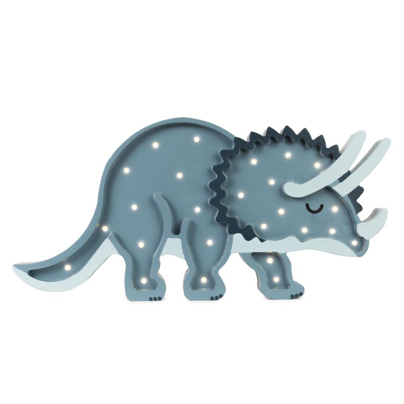 Little Lights® Ročno izdelana lesena lučka Dino Triceratops Jurassic Navy