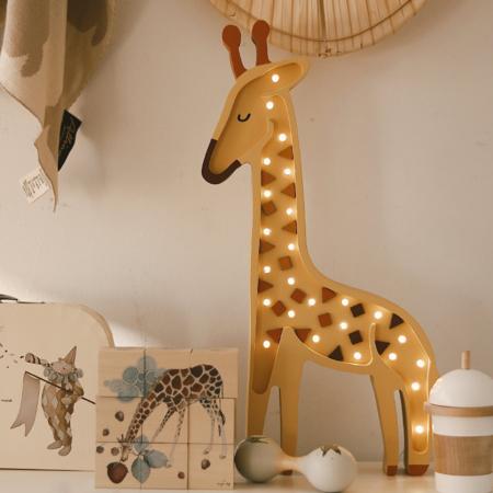 Little Lights® Ročno izdelana lesena lučka Giraffe Yellow