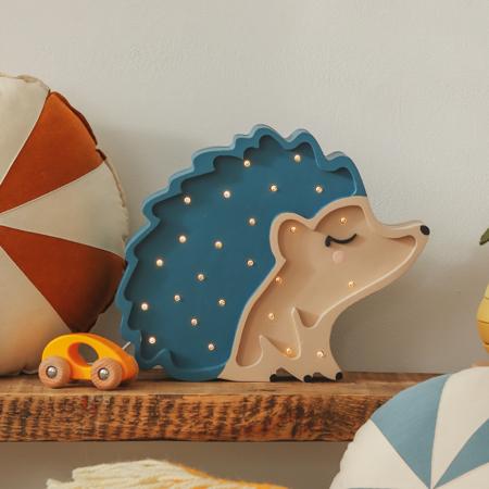 Little Lights® Ročno izdelana lesena lučka Hedgehog Blue