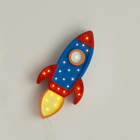Little Lights® Ročno izdelana lesena lučka Rocket Navy