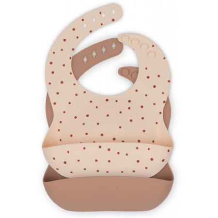 Konges Sløjd® Komplet dveh silikonskih slinčkov Raspberry Red Dot/Bark