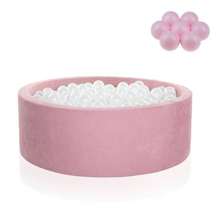 Slika Kidkii® Okrogel Rose Bazen s kroglicami Pink 90x40