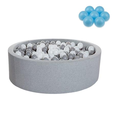 Slika Kidkii® Okrogel Grey Bazen s kroglicami Blue 90x40
