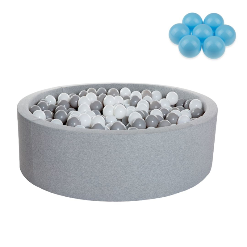 Kidkii® Okrogel Grey Bazen s kroglicami Blue 90x40