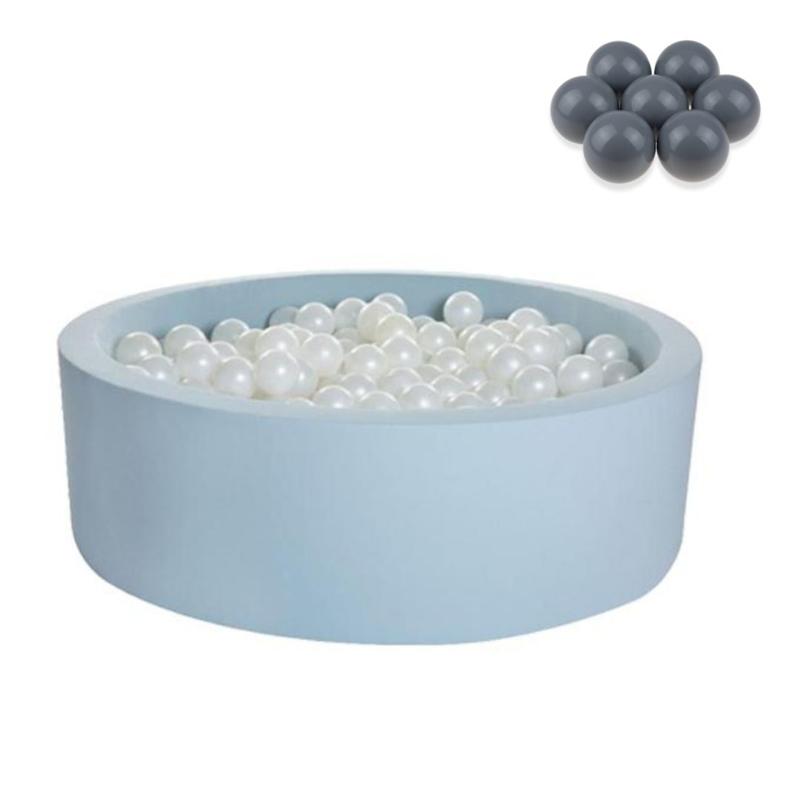 Kidkii® Okrogel Blue Bazen s kroglicami Grey 90x30