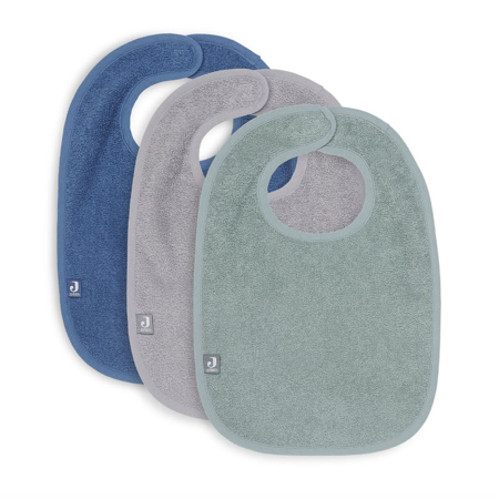 Jollein® Komplet 3 bombažnih slinčkov Green/Storm Grey/Jeans Blue