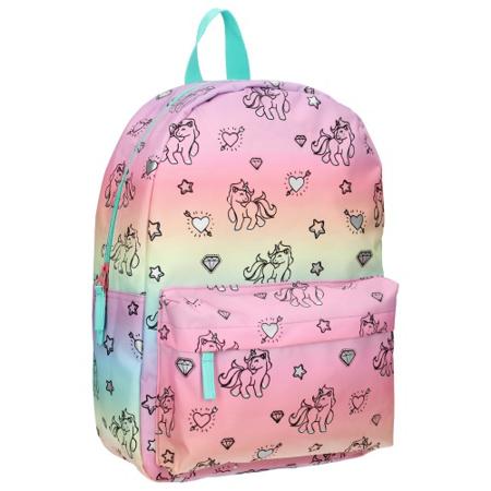 Slika Kidzroom® Otroški nahrbtnik Milky Kiss Rainbows and Unicorns Blue Pink (M)