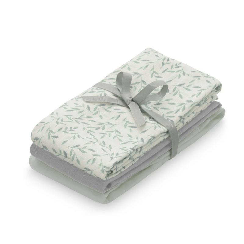 CamCam® Tetra pleničke GOTS Mix Green Leaves, Dusty Green, Grey 3 kosi 70x70