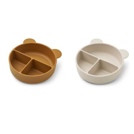 Liewood® Komplet deljenih silikonskih skledic Connie Golden Caramel/Sandy Mix