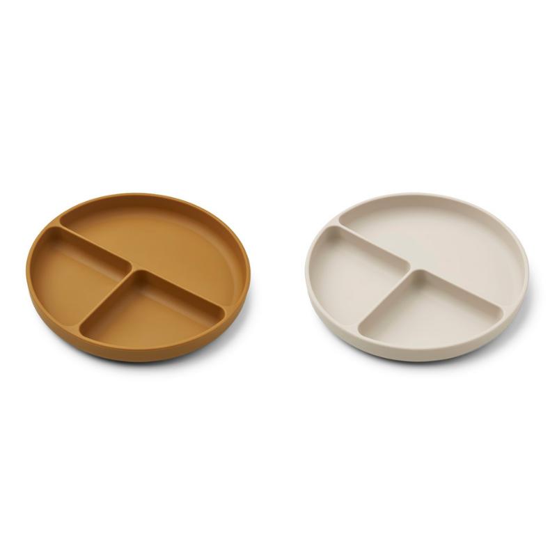 Liewood® Komplet deljenih silikonskih krožnikov Harvey Golden Caramel/Sandy Mix