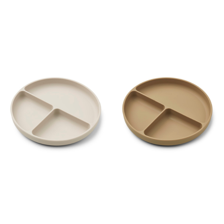 Liewood® Komplet deljenih silikonskih krožnikov Harvey Sandy/Oat Mix