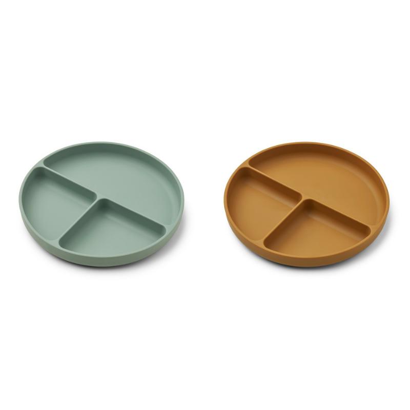 Liewood® Komplet deljenih silikonskih krožnikov Harvey Peppermint/Golden Caramel Mix