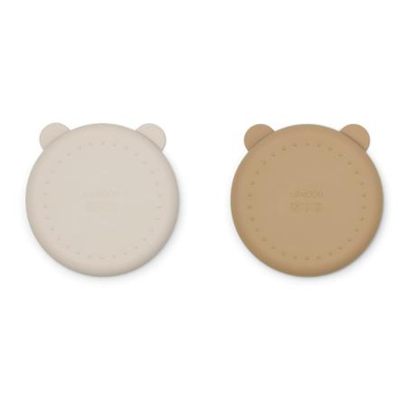 Liewood® Komplet deljenih silikonskih krožnikov Merrick Sandy/Oat Mix