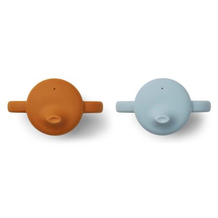 Liewood® Skodelici za učenje pitja iz silikona Neil Mustard/Sea Blue Mix 2 kosa