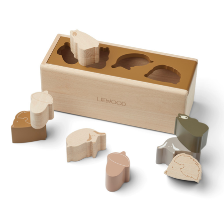 Slika Liewood® Lesena aktivnostna škatla s liki Midas Friendship Golden Caramel Multi Mix
