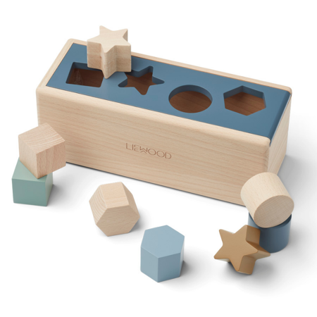 Slika Liewood® Lesena aktivnostna škatla s liki Midas Geometric Whale Blue Multi Mix