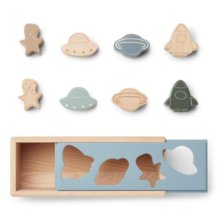 Liewood® Lesena aktivnostna škatla s liki Midas Space Blue Fog Multi Mix