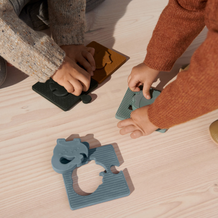 Liewood® Silikonske puzzle Bodil Dino Blue Multi Mix