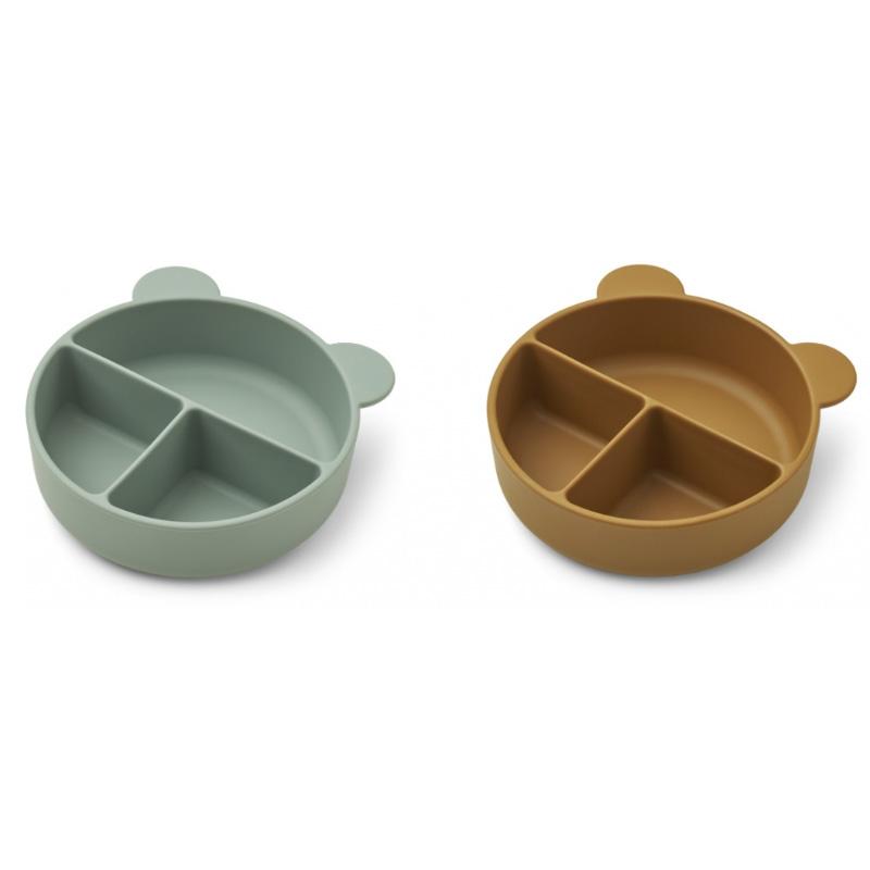 Liewood® Komplet deljenih silikonskih skledic Connie Peppermint/Golden Caramel Mix