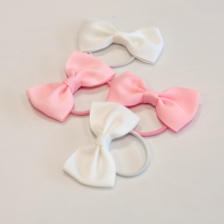 Elastike za lase Pentljica Ø3,5 cm 4 kos White & Pink