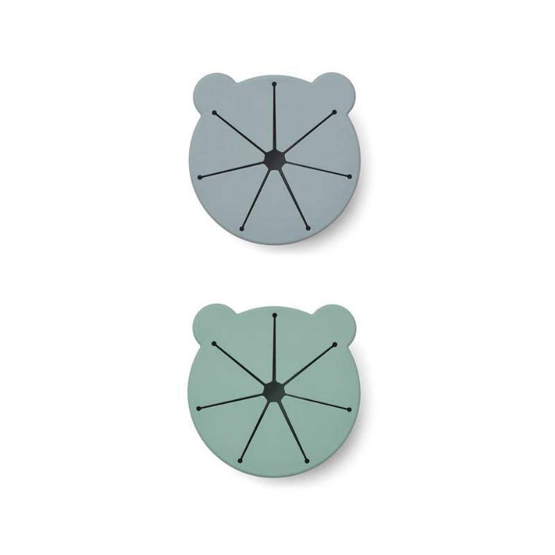Liewood® Komplet 2 silikonskih skledic za prigrizke Kelly Blue fog/peppermint