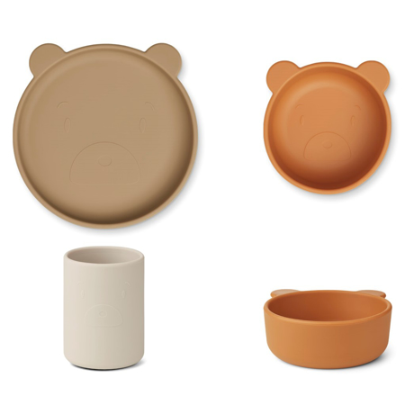 Liewood® Jedilni set iz silikona Cyrus Junior Mr bear/oat multi mix