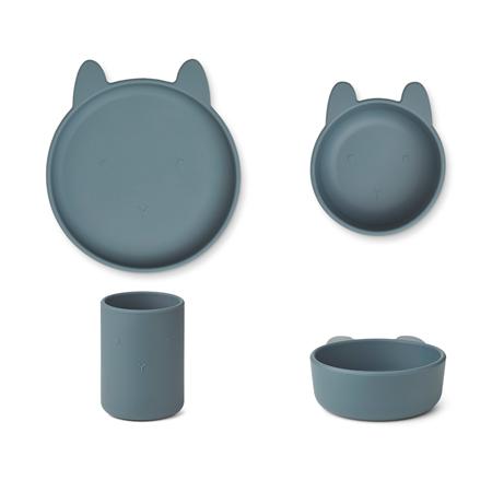 Liewood® Jedilni set iz silikona Cyrus Junior Rabbit Whale Blue