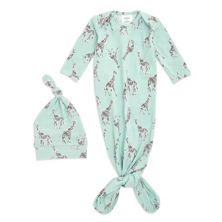 Slika Aden+Anais® Darilni paket Spalna vreča in kapica Comfort Knit (0-3M) Jade Giraffe
