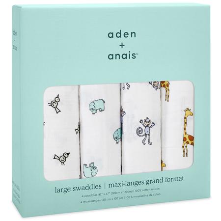 Aden+Anais® Komplet 4 povijalnih pleničk Jungle Jam 120x120