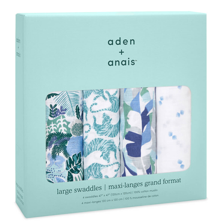 Aden+Anais® Komplet 4 povijalnih pleničk Dancing Tigers 120x120